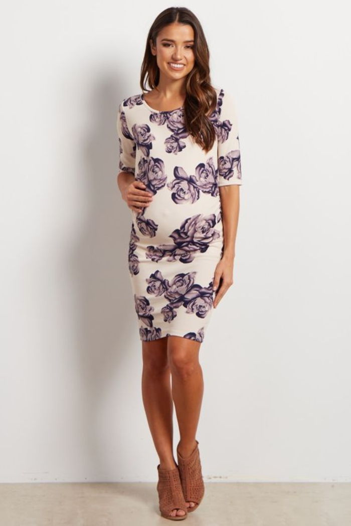 maternity dress, maternity dress in white with floral pattern, elastic