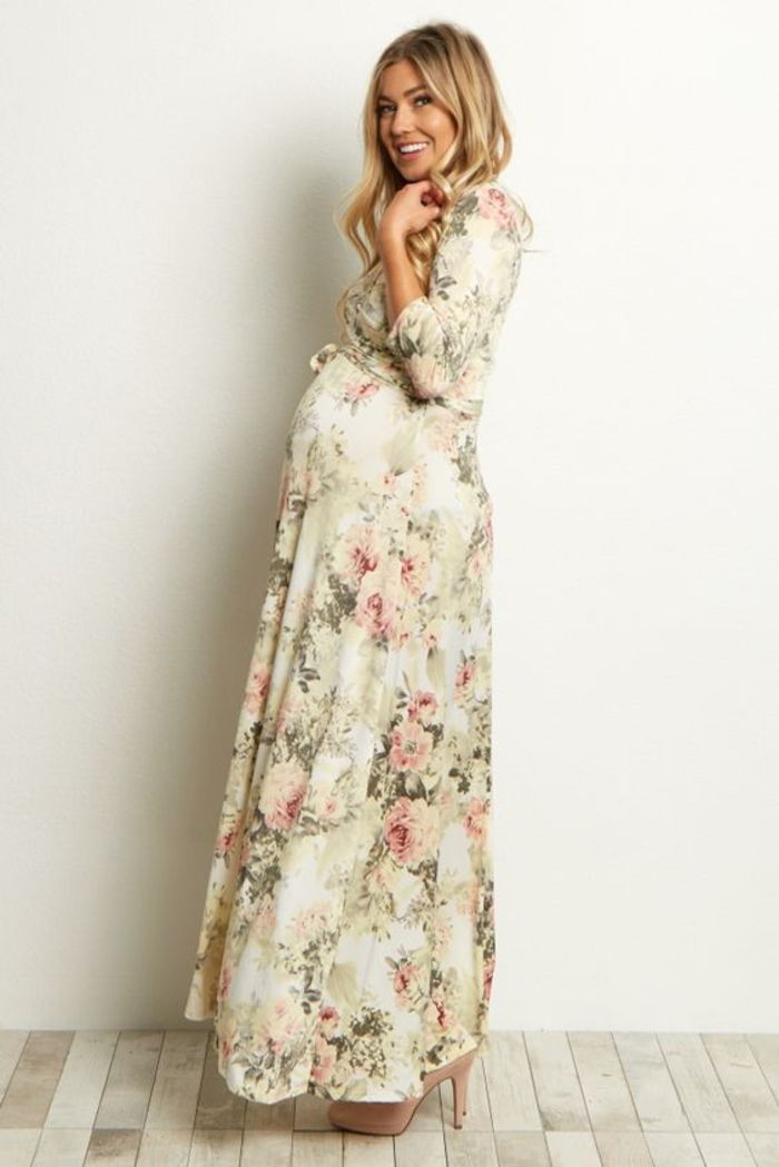 maternity dress, loose, easy, flower pattern, long sleeves