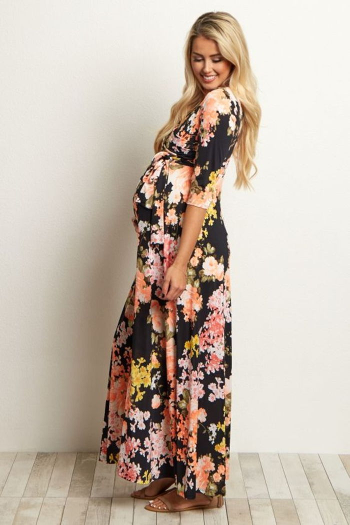 maternity dress, floral dress, long sleeves