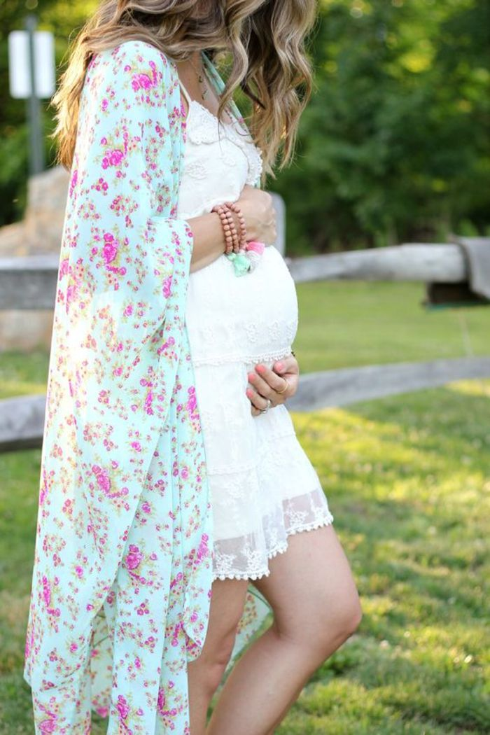 maternity dress in white, cape with floral pattern, summer fashion for leisure