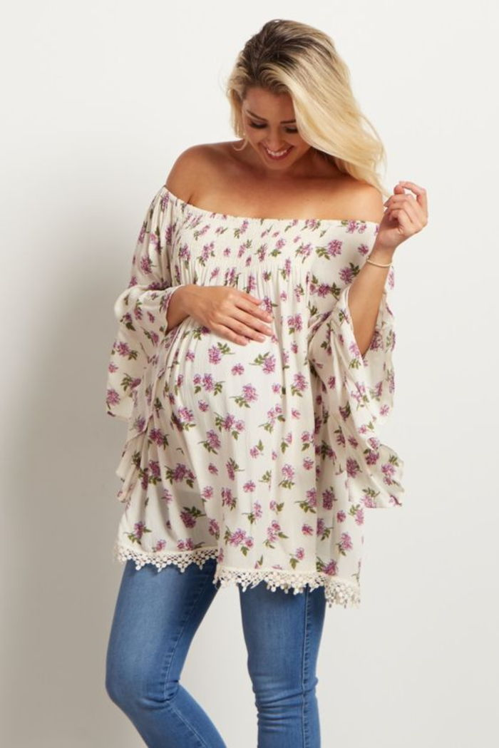 Circular tunic with floral pattern, loose, long sleeves