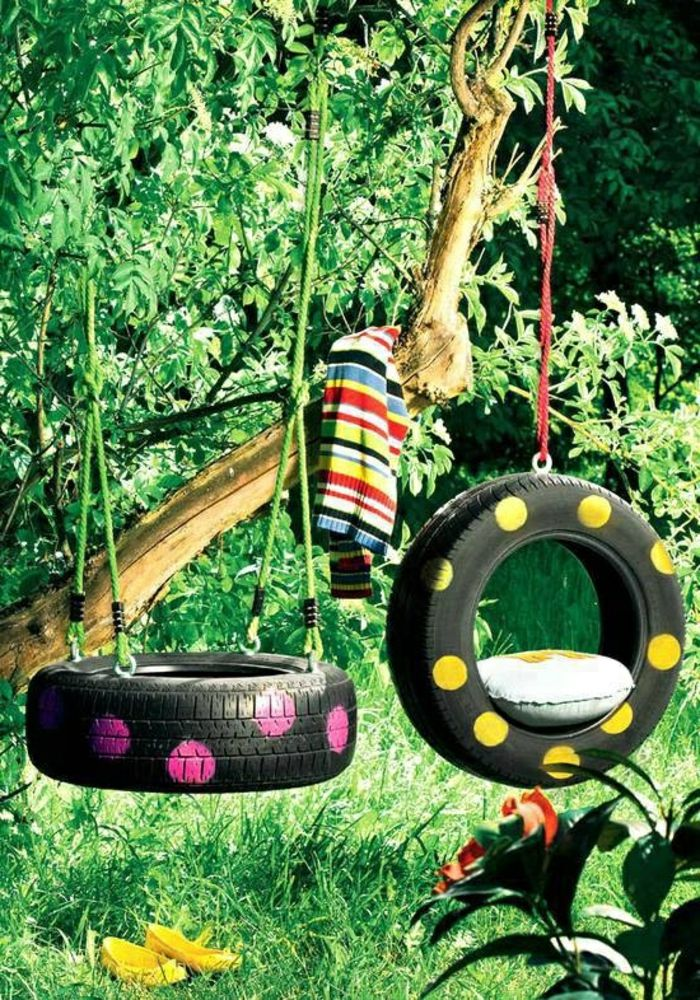 porch-swing-out car tires-made green-environment