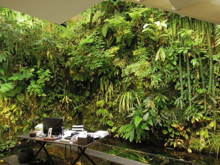 Dreamlike picture of office - full of greenery - planting vertically