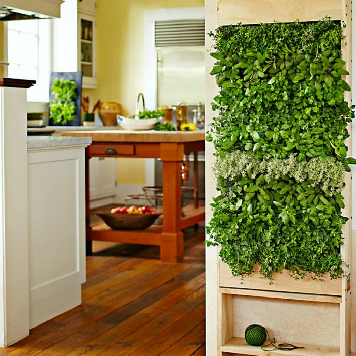 plant vertically in the kitchen, solid wood table with green decoration