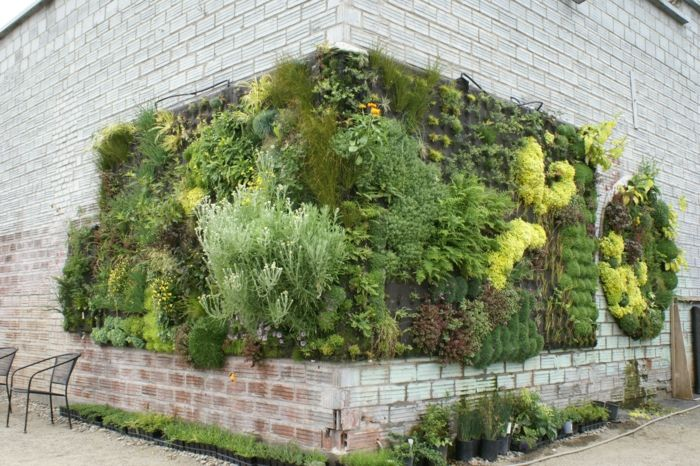 a corner of the building can be varied with vertical planting