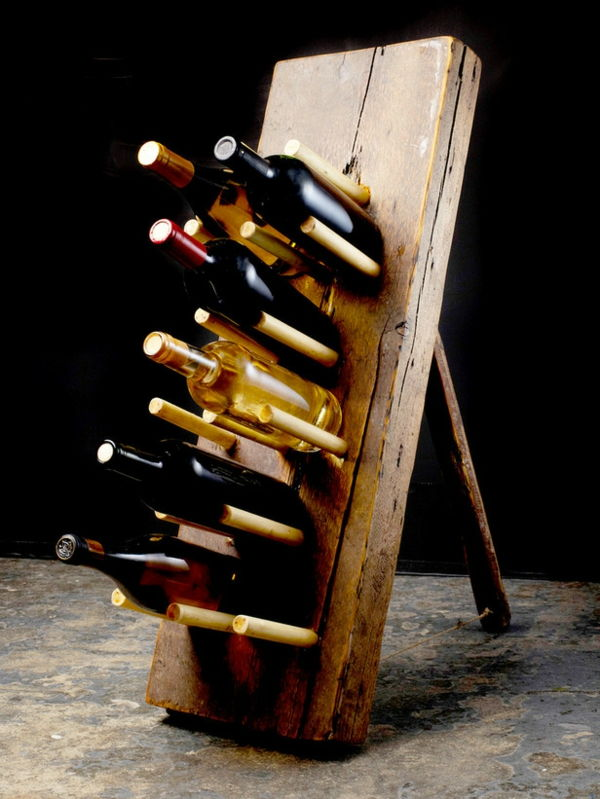 Wine rack diy model made from a wooden board