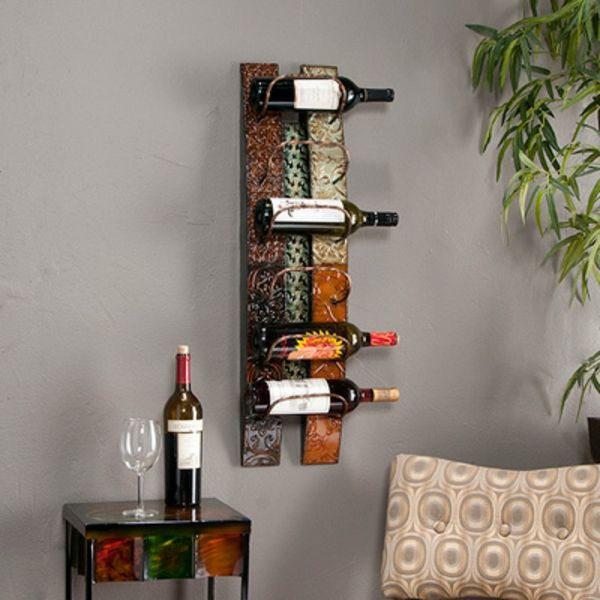 wine rack-stein-selbst-bauen- on the gray wall