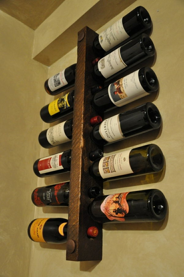 wine stand-wood-on-the-wall - look modern