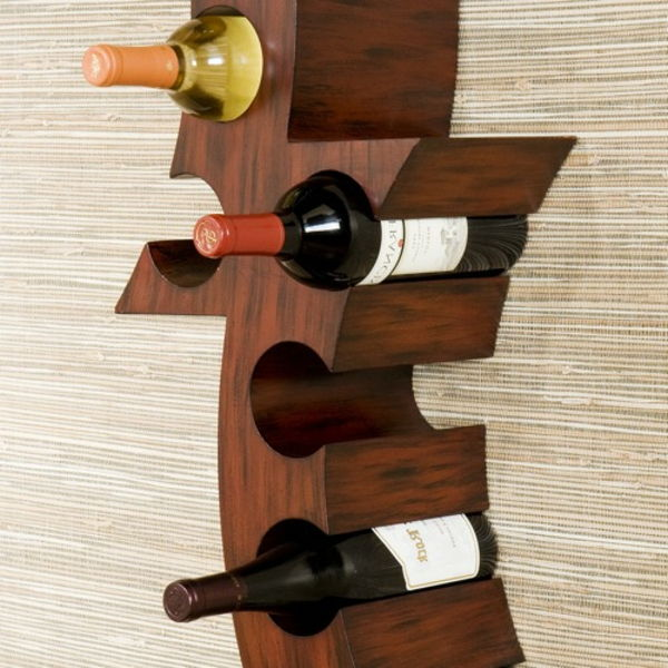 wine stand-wood-self-build- hang on the wall