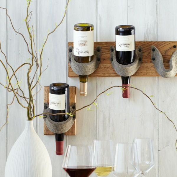 wine rack wood white wall decorative plant