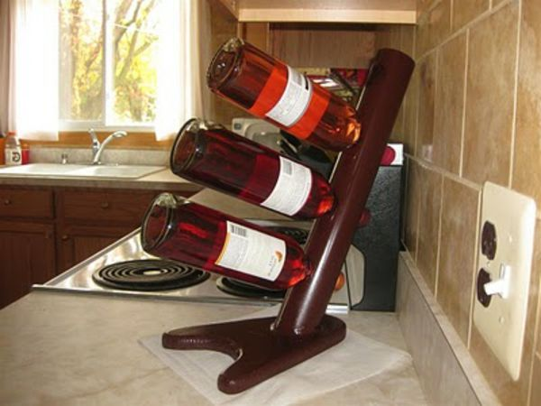 wine stand-making-yourself- three wine bottles